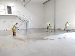 construction workers cleaning